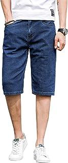 Pantalones Cortos de Mezclilla elásticos Ajustados súper Ajustados para Hombre, Pantalones Cortos de Talla Grande de Negoc...