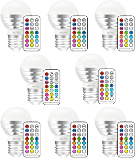 MELPO LED Color Changing Light Bulb with Remote Control, 3W E26 Dimmable RGB Light Bulbs for Birthday Party / KTV Decoration / Household / Bar / Wedding (Pack of 8)