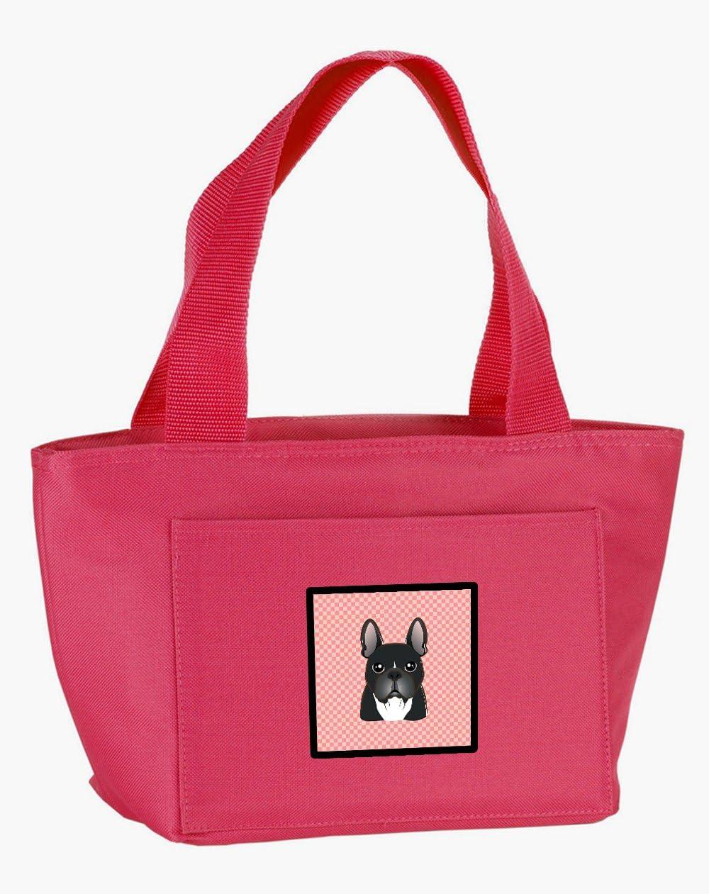 Caroline's Treasures BB1227PK-8808 Checkerboard Pink French Bulldog Lunch Bag, multicolor