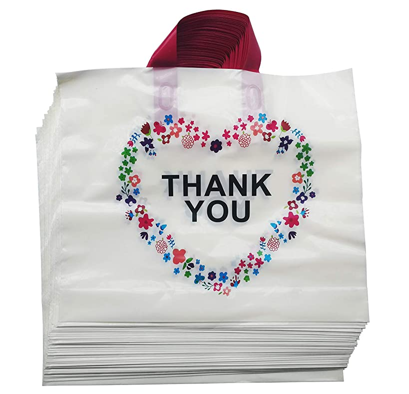 50Pcs Thank You Beige Merchandise Bags with Handles with Bottom Gusset, Plastic Shopping Bags Boutique Gift Bags,14.6