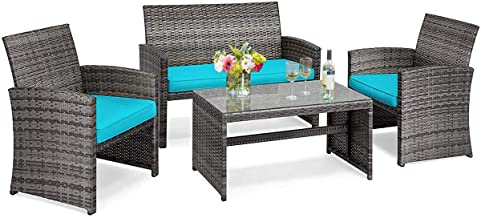 Tangkula 4 PCS Wicker Patio Conversation Set, Outdoor Rattan Sofas with Table Set, Patio Furniture Set with Soft Cushions ...