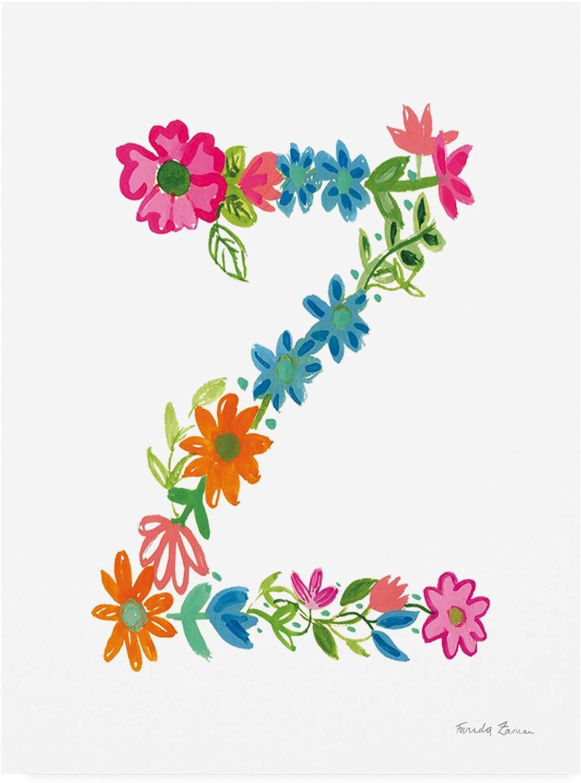 Trademark Fine Art Floral Alphabet Letter XXVI by Farida Zaman, 14x19