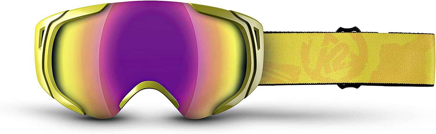 K2 Photoantic DLX Ski Goggles, Yellow Smoke Standard Red Tripic Mirror
