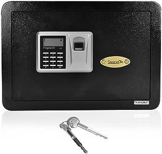 SereneLife Fingerprint Compact Safe Box | Safes & Lock Boxes | Gun Safe Box | Safe Security Box | Digital Safe | House Safe | Safe Box For Money | Steel Alloy Drop Safe - Includes Keys (SLSFE22FP)