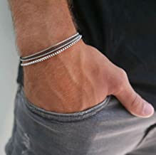 """Handmade Cuff Chain Bracelet For Men Made Of Stainless Steel By Galis Jewelry - Silver Bracelet For Men - Cuff bracelet For men - Jewelry For Men - FITS 7""""-7.75"""" WRIST SIZE"""