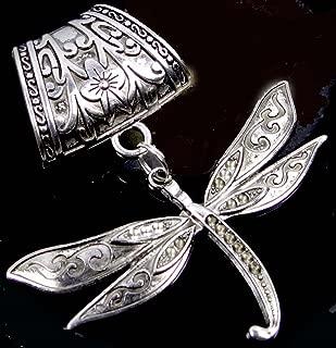 Scarf Pendant Silver Pewter Dragonfly Flight Slide