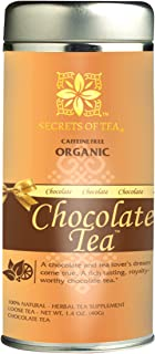 Secrets Of Tea Decaf Chocolate Tea, Sugar-Free Caffeine-Free USDA Organic Natural Herbal Choco Flavor Loose Leaf Tea, 1.4 ...