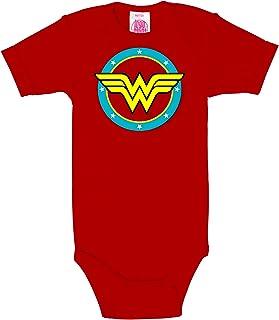 Logoshirt DC Comics Wonder Woman Babystrampler Mädchen I Kleinkinder Body rot kurzärmlig I Lizenziertes Originaldesign I hochwertiger Logo-Print I Schlafstrampler Baumwolle I Vintage Style