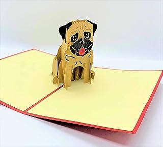 BC Worldwide Ltd carta pop-up 3D fatta a mane bulldog compleanno, festa del papà, festa della mamma, auguri in bianco, gra...