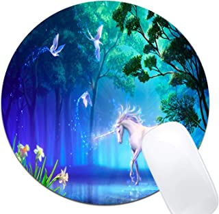 Fantasy Birds Flower Horse Tree Unicorn Mouse Pad,Custom Round Mouse Pad Non-Slip Rubber Mouse pad Office Gaming Accessori...