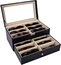Autoark Leather 12 Piece Eyeglasses Storage and Sunglass Glasses Display Drawer Lockable Case Organizer,Black,AW-023