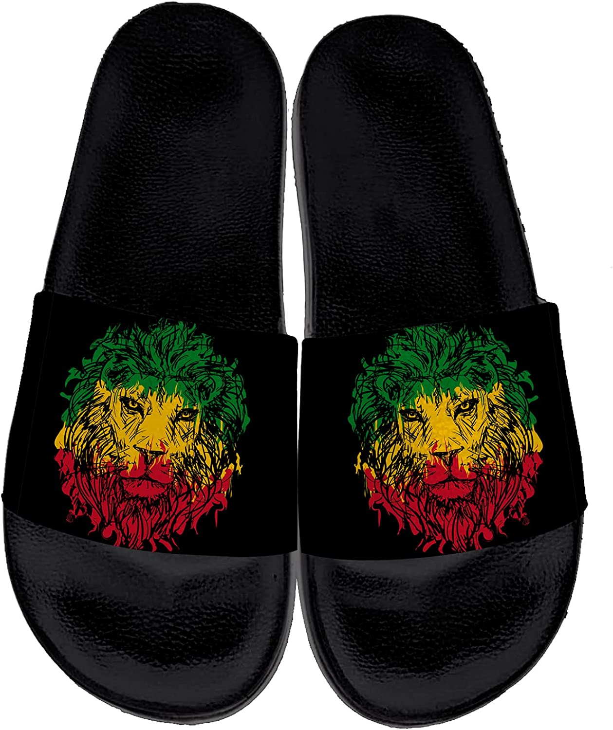 Rasta Lion Sandals Womens Mens Slide Sandals Casual Sport Indoor Outdoor Bath Beach Shower Casual House Slippers Shoes Gifts for Men Women