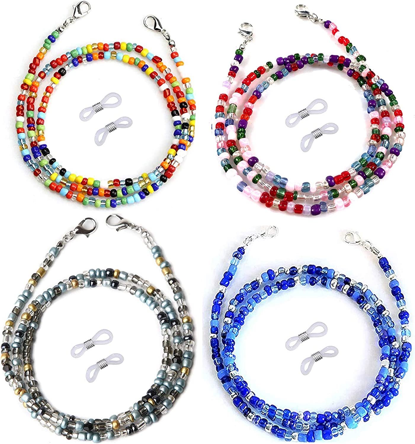 4PCS Beaded Face Mask Lanyards,Colorful Beads Mask Chain Holder for Women Around Neck with Clips