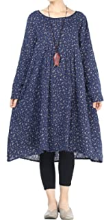 Mordenmiss Women's Flowers Floral Pleated Fall Casual Dress with Pockets