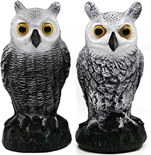 Best Hausse 2 Pack Bird Scarecrow Fake Horned Owl Decoy, Nature Enemy Pest Repellent for Outdoor Garden Yard Review