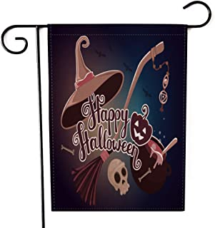 """Fiuqaomy Happy Halloween Witch Pumpkin Garden Flag Vertical Double Sized, Holiday Burlap Yard Outdoor Decoration 12.6"""" 18.5"""""""
