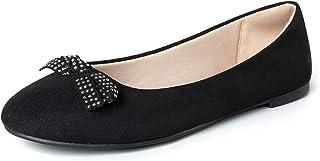 WFL جولة اصبع القدم النساء شقق الانزلاق على أحذية الباليه المسطحة لينة, (Black Pearl Bow), 37 EU