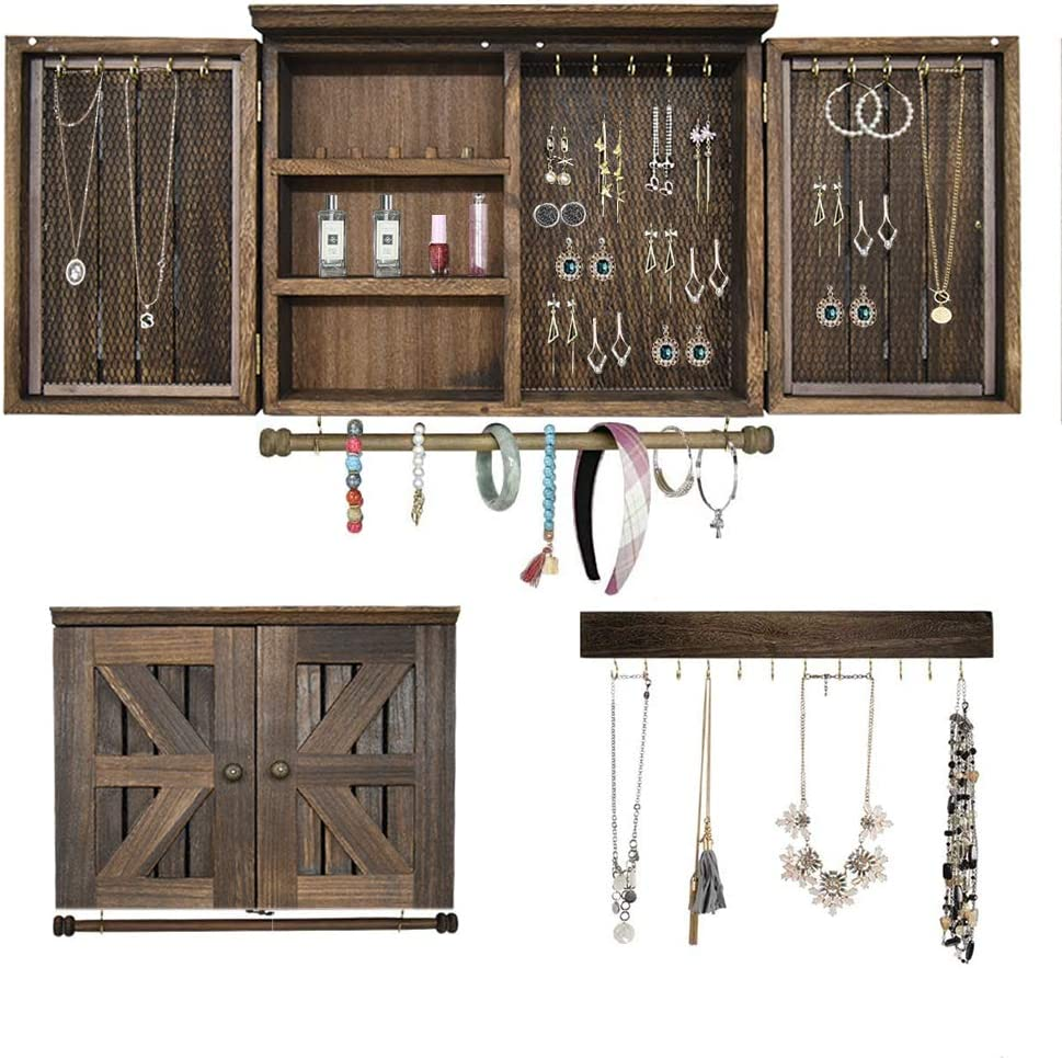 VICKERT Rustic Wall Mount Jewelry Organizers with Wooden Barndoor  Decor.Wall Jewelry Organizer for Necklaces, Earings, Bracelets, Ring  Holder, and ...
