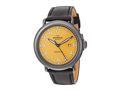 Shinola Detroit 45 mm Runwell Automatic (Ochre/Black Leather Strap) Watches