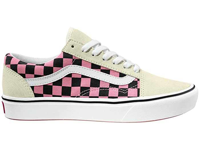 Vintage Sneakers, Retro Designs for Women Vans Comfycush Old Skool Mixed Media WhiteMulti Athletic Shoes $59.99 AT vintagedancer.com