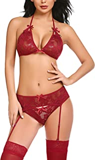 Avidlove Women Lingerie Set with Garter Belts Lace Bra and Panty Set Strap Babydoll Teddy Outfits