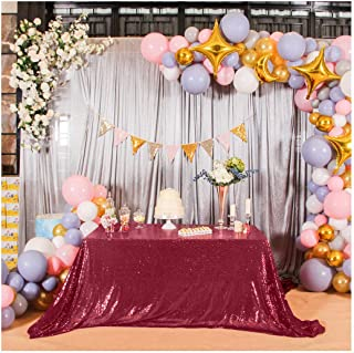 Poise3EHome 50×80'' Rectangle Sequin Tablecloth for Party Cake Dessert Table Exhibition Events, Burgundy