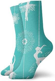 tyui7, Calcetines blancos de compresión antideslizantes Bailarina Cozy Athletic 30cm calcetines de tripulación para hombres, mujeres, niños