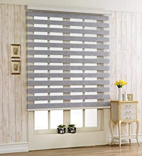 Foiresoft Custom Cut to Size, [Winsharp Woodlook 47, Grey, W 31 x H 47 inch] Zebra Roller Blinds, Dual Layer Shades, Sheer or Privacy Light Control, Day and Night Window Drapes, 20 to 110 inch Wide