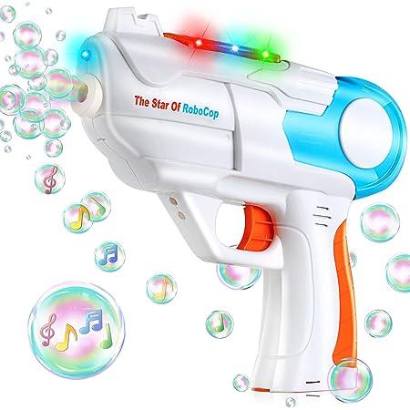 TangTag Máquina de Burbujas Niños,Pistola de Burbujas de Jabón con Luz y Música, Pistola de Pompas es Regalo de Deseos Niños, Apto para Todo Tipo Fiestas - Sin Incluir Líquido de Pompas Jabón y Pilas