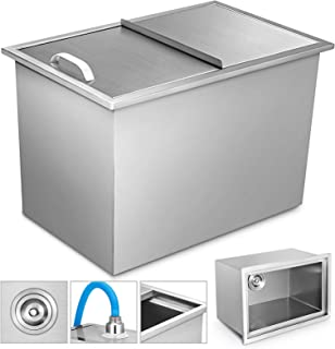 Happybuy Drop in Ice Chest 27x18x21 Inch with Sliding Cover 304 Stainless Steel Insulated Wall Drop in Cooler for Wine Beer Juice