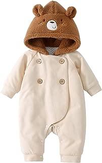 pureborn Newborn Unisex Baby Cartoon Hood Quilted Cotton Lined Winter Jumpsuit