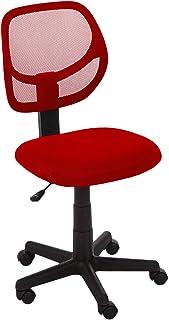 AmazonBasics Low-Back, Upholstered Mesh, Adjustable, Swivel Computer Office Desk Chair, Red