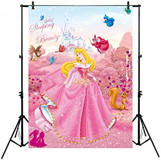 Pink Flower Garden Background Backdrop 5x7ft Sleeping Beauty Princess Aurora Photo Backgrounds Girl Birthday Banner Amimed Animal Backgrounds for Party