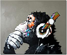Fokenzary Hand Painted Oil Painting on Canvas Pop Art Cool Ape Listening Music with Headphone Framed Ready to Hang