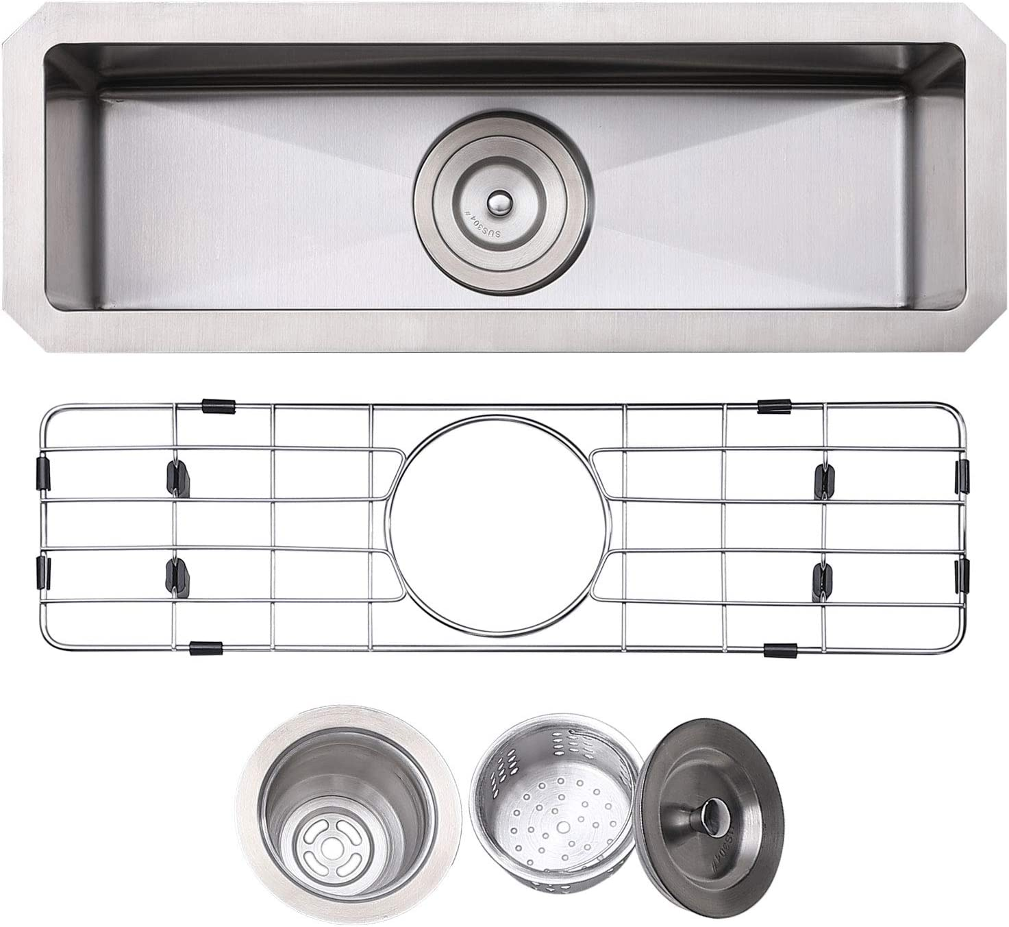 KINGO HOME 23 Inch Stainless Steel Topmount Drop-In Small Kitchen Bar Sink, Single Basin Sink for Wet Bar Prep RV Yard Office Laundry Utility with Dish Grid & Drain
