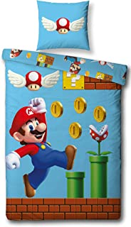 Character World Juego de cama reversible Super Mario, 135 x 200 cm, 80 x 80 cm, 100% algodón