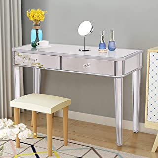 silver makeup table