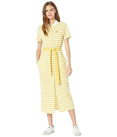 Lacoste Long Short Sleeve Vertical Stripes Button Through Dress