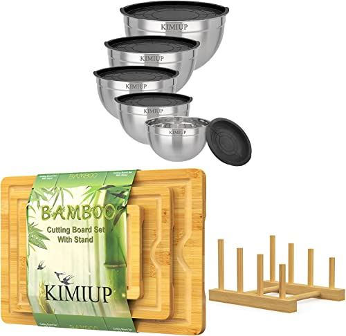 2021 Stainless Steel Mixing Bowls with Lids Set of 5, sale Bamboo Cutting popular Board Set of 3 online sale