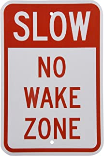 Riuolo 3M Engineer Grade Reflective Sign, Legend Slow No Wake Zone, 18