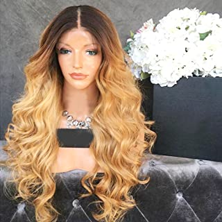 Wicca Brazilian human hair Ombre blonde Full lace wigs Dark root Loose wave Lace front wig Bleached knot Pre plucked hairline 130% density (16inch, 1b/27 lace front wig)