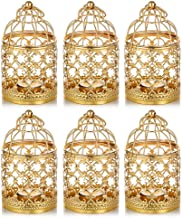 4 Pcs Hanging Lantern Tealight Candle Holder Round Birdcages Metal Wall Hanging Bird Cage for Small Birds Wedding Party In...