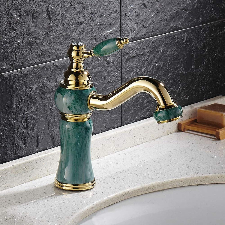 WSLWJH Einhand-Waschtischarmatur Euro VerGoldung Luxus Bad Becken Wasserhahn Einzigen Handgriff Vanity Sink Mixer Wasserhahn Messing Und Jade Becken Waschbecken Wasserhahn