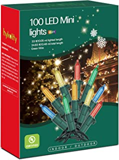 hykolity 100-Count LED Christmas Light, 34.8ft, Multicolor, Connect Up to 22 Sets, Indoor String Light for Christmas/Halloween/Wedding, UL Listed