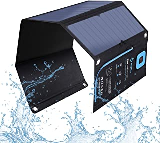 【28W Solar Charger with Digital Ammeter】 BigBlue Portable SunPower Solar Panel with 2USB(5V/4A Max Overall) for Camping, F...