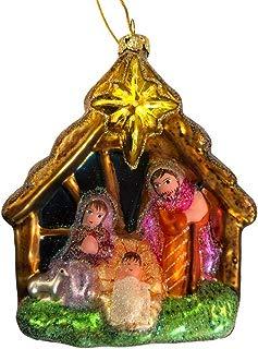KKC Nativity Manger Tree Ornament Holy Baby Jesus Glass Hanging Large