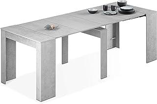 Habitdesign 004580L - Mesa de Comedor Consola Mesa Extensible Mesa para Salon recibidor o Cocina Acabado en Gris Cement...