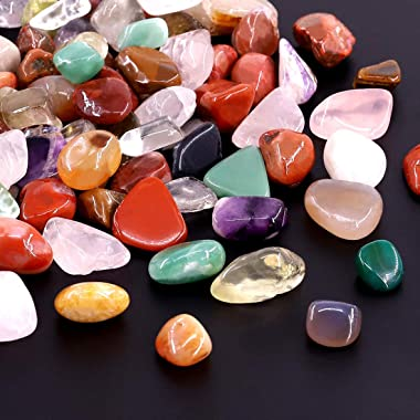 Hilitchi 1lb Bulk Large Natural Tumbled Polished Brazilian Stones Gemstone Healing Crystals Quartz for Wicca, Reiki, and Ener