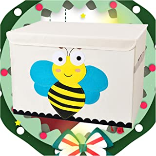 Bagnizer Large Toy Storage Chest Cute Animal Storage Bin with Flip-top Lid Oxford Collapsible Fabric Foldable Toys Storage...