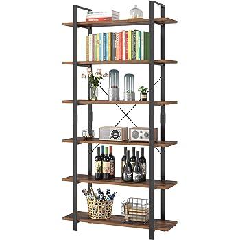 Relaxdays Librería Estantería Industrial con 6 Baldas, Aglomerado/Metal, Marrón, 180 x 95 x 35 cm: Amazon.es: Hogar